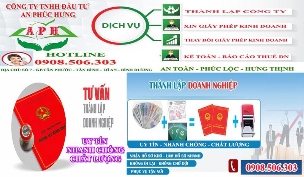 Dịch vụ đăng ký kinh doanh uy tín giá rẻ Dĩ An Bình Dương