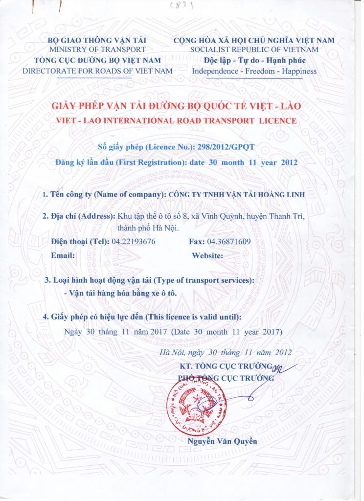 GP Vận Tải Đường Bộ Quốc Tế Việt Lào Tại Bình Dương