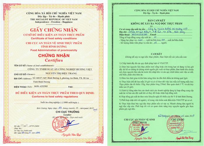 giấy chứng nhận VSATTP tại thuận an