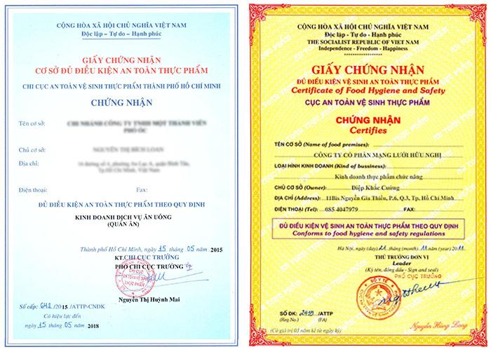 Xin giấy chứng nhận vệ sinh an toàn thực phẩm Dĩ An