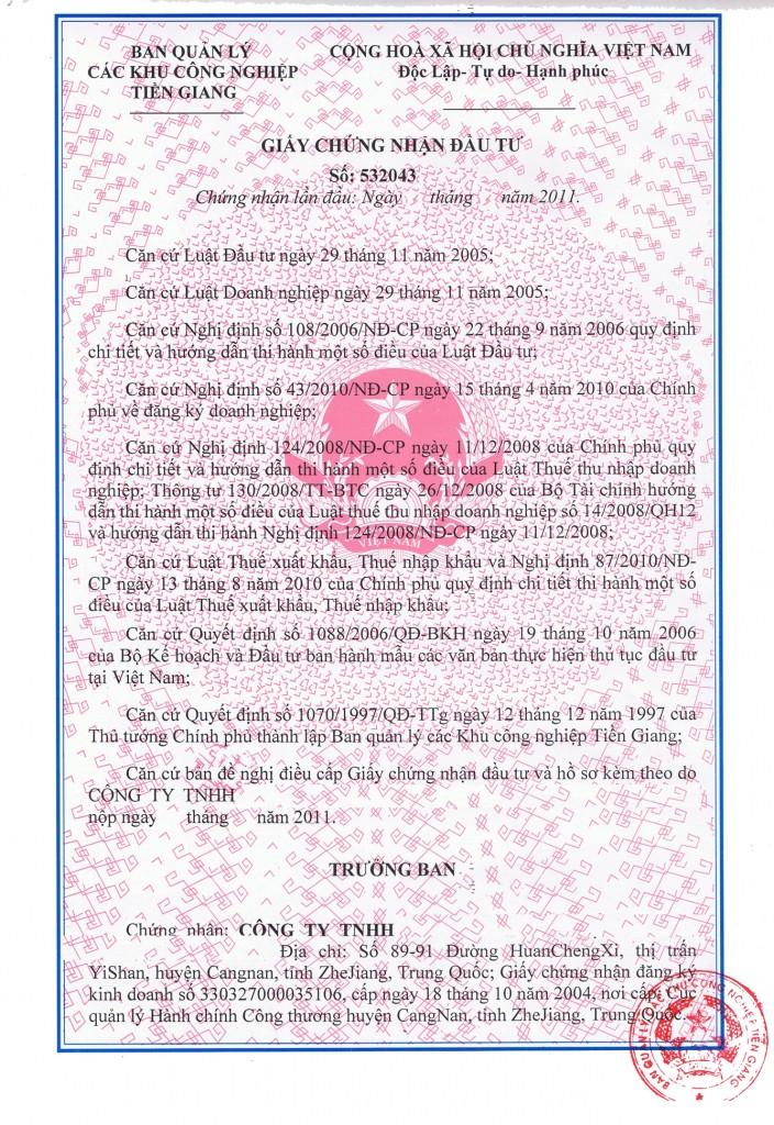 Dịch vụ thay đổi giấy phép đầu tư tại Biên Hòa