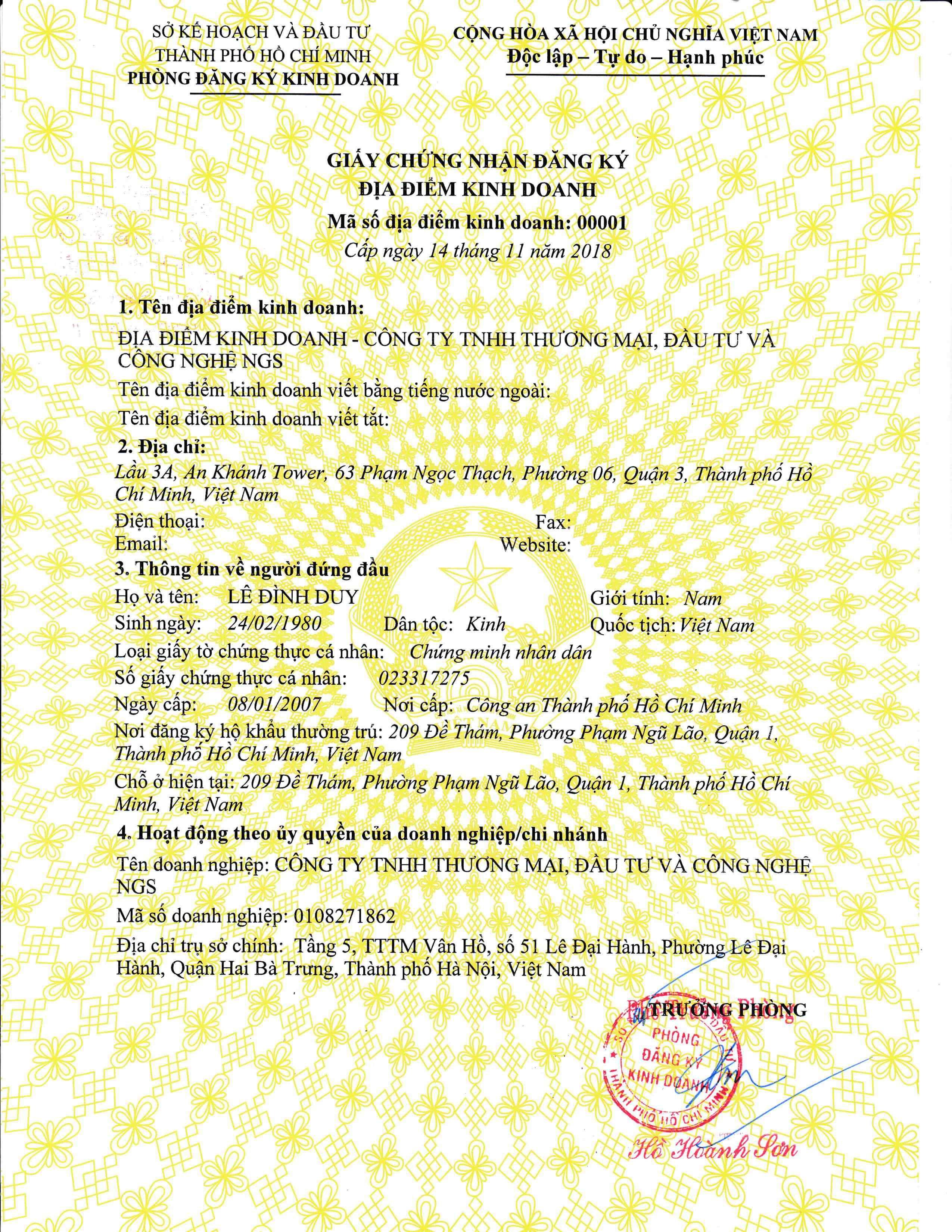 giấy chứng nhận đăng ký địa điểm kinh doanh