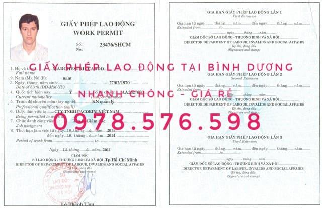 giấy phép lao động cho người nước ngoài tại bình dương