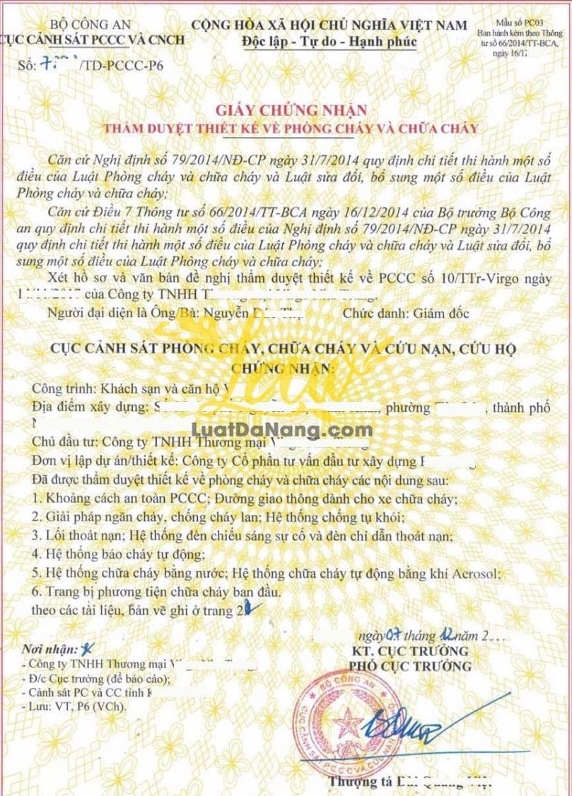 giấy chứng nhận pccc tại bình dương